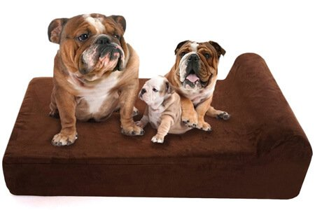 Lucky Dog Orthopedic 7 Memory Foam Large Dog Beds with Bolster Headrest Pillow