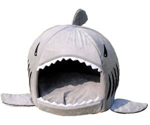 Grey Shark Bed for Small Cat Dog Cave Bed With Removable Cushion, waterproof Bottom