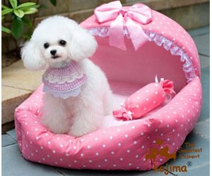 Colorfulhouse® Princess Bed Design Pet Bed Soft Suede Dog House Bed