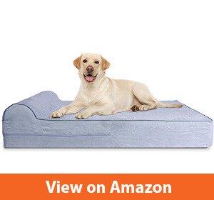 KOPEKS - Orthopedic Memory Foam Dog Bed with Pillow and Waterproof Liner & Anti-Slip Bottom
