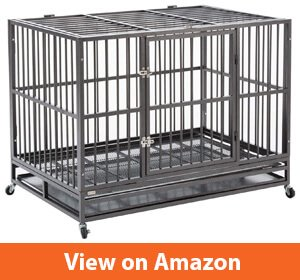 Sliverylake Dog Cage Crate Kennel - Heavy Duty Double Door Pet Cage wMetal Tray Wheels Exercise Playpen