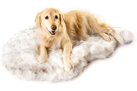 Treat A Dog Puprug Faux Fur Memory Foam Orthopedic Dog Bed for Great Pyrenees
